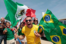 Brazil and Mexico soccer fan Jose Espinoza in Arlington, Texas, June 3, 2012.