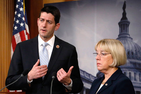 Representative Paul Ryan and Senate Budget Committee chairman Senator Patty Murray hold a news conference to introduce The Bipartisan Budget Act of 2013 at the Capitol in Washington, Dec.10, 2013.