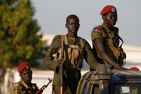SPLA soldiers stand in a vehicle in Juba December 20, 2013.