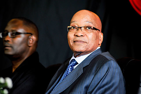South African President Jacob Zuma at the opening of the new headquarters of the Congress of South African Trade Unions in Johannesburg, South Africa, Feb. 29, 2012.