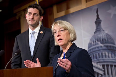 House Budget Committee Chairman Paul Ryan and Senate Budget Committee Chairwoman Patty Murray announce a tentative agreement between Republican and Democratic negotiators, at the Capitol in Washington, Dec. 10, 2013.