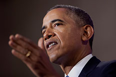 President Barack Obama talks about National Security Agency surveillance,  Jan. 17, 2014.