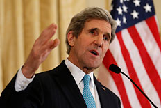 U.S. Secretary of State John Kerry speaks about the Ukraine crisis after his meetings with other foreign ministers in Paris, March 5, 2014.