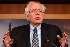 Sen. Bernie Sanders, I-Vt. gestures while speaking during a news conference on Capitol Hill in Washington, Dec. 6, 2012,