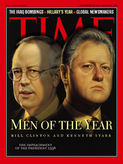Illustration showing Kenneth Starr and Bill Clinton