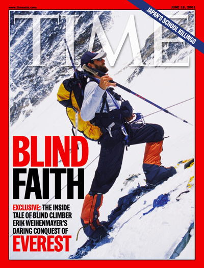 Blind mountain climber Erik Weihenmayer climbing Mt. Everest.