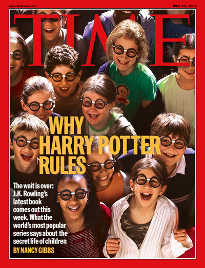 A photo of a group of children wearing Harry Potter glasses