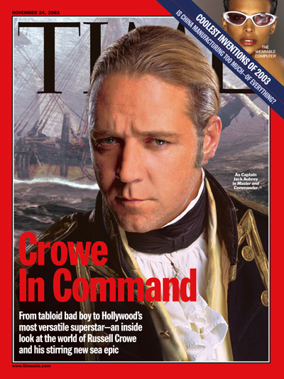 A photograph of Russell Crowe as Captain Jack Aubrey in the movie Master and Commander.