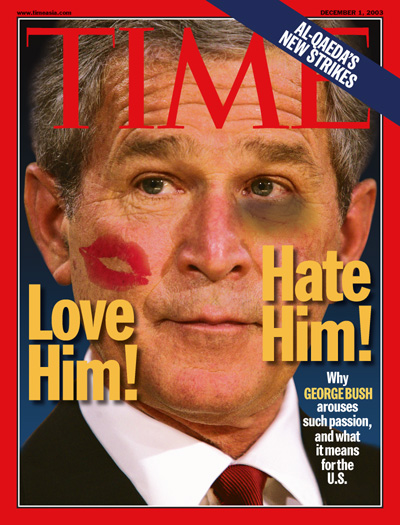 A photo illustration showing George W. Bush with lipstick on his cheek and a black eye.