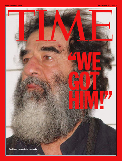 A photo of captured Saddam Hussein