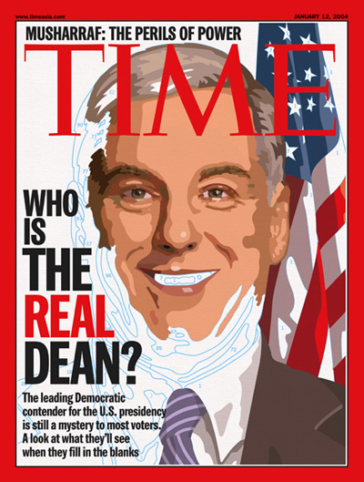 A partly finished illustration showing Howard Dean.