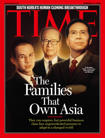 Li Ka-shing, Asia's richest man, with sons Victor and Richard