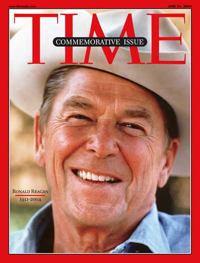 Close up photo of Ronald Reagan wearing cowboy hat.