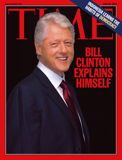 Portrait of Bill Clinton on a black background.