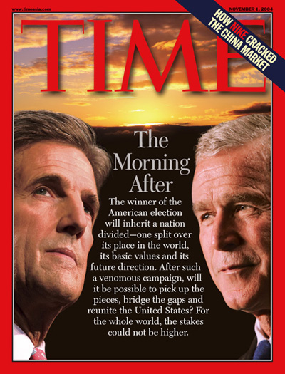 An illustration showing two inset pictures of John Kerry and George W. Bush with a sunset behind them.