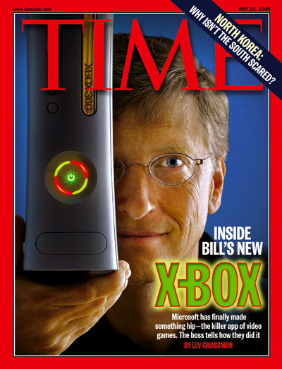 A photograph of Bill Gates and an X Box.