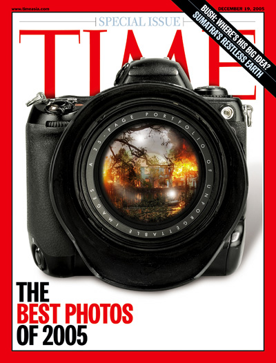Photo illustration of a camera with an image of Hurrican Katrina superimposed onto the lens.