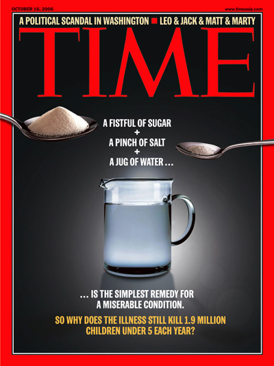 A photo showing a spoon of sugar, a spoon of salt, and a jug of water.
