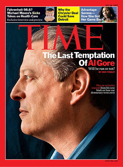 Close up profile of Al Gore