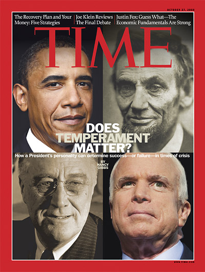 Split-screen of Barack Obama, Abraham Lincoln, Franklin Roosevelt and John McCain