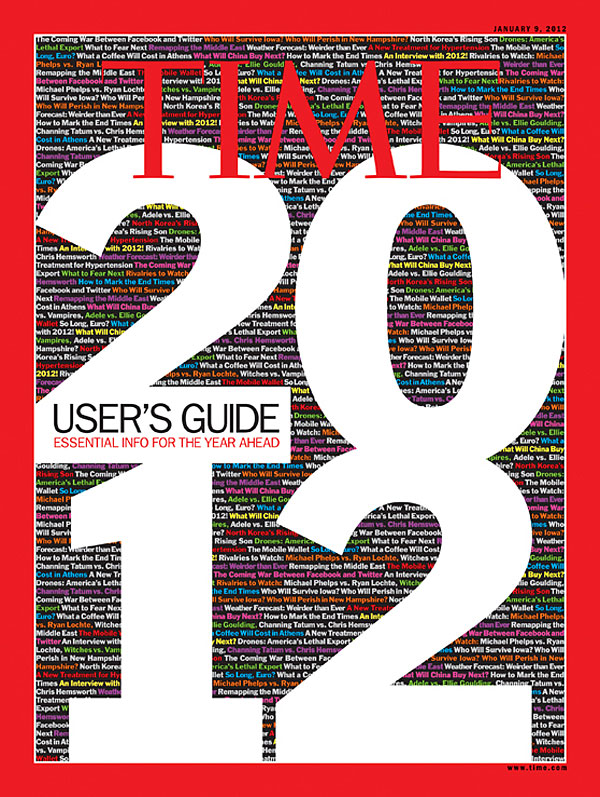 Graphic of 2012: User's Guide with various news headlines in the background