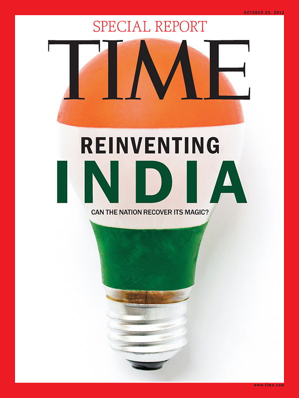 A Photo-Illustration of a light bulb with India's flag imprinted
