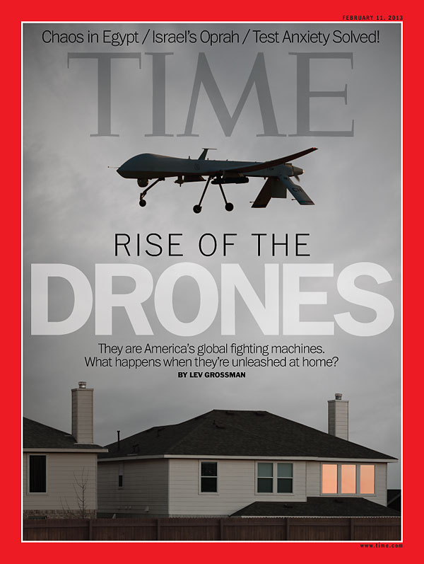 Photo illustration of drone hovering over house