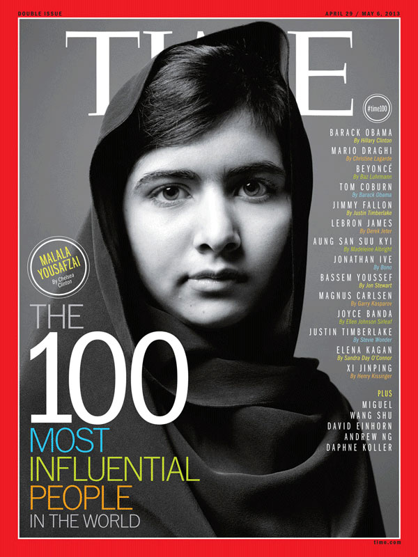b/w photograph of Malala Yousafzai