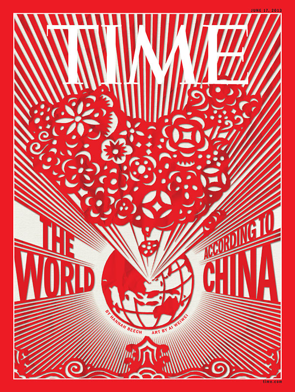 red and white graphic of the world