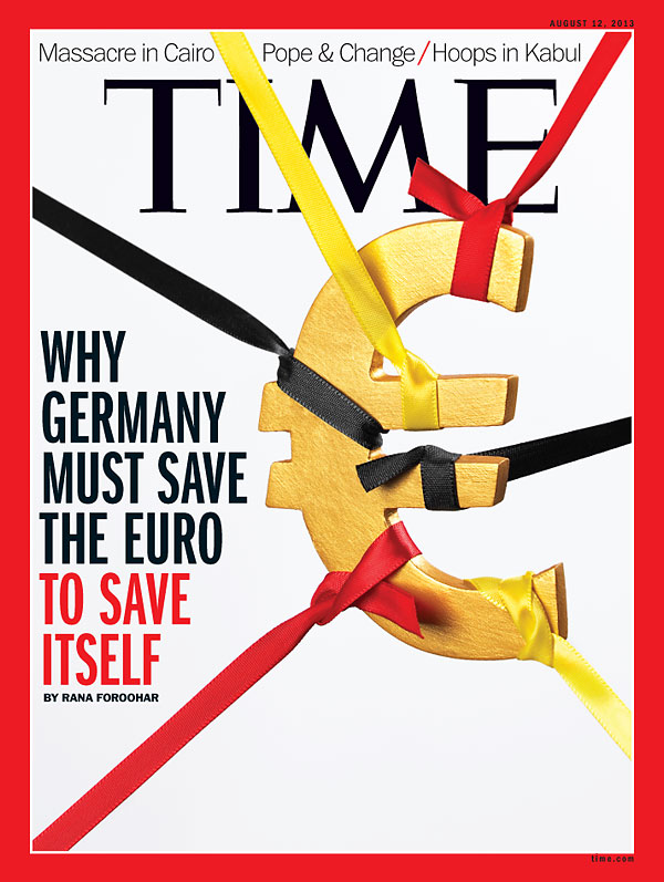 Euro symbol suspended by German Flag-colored ribbon