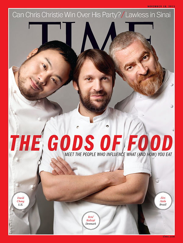 portraits of three famous chefs: David Chang, René Redzepi and Alex Atala