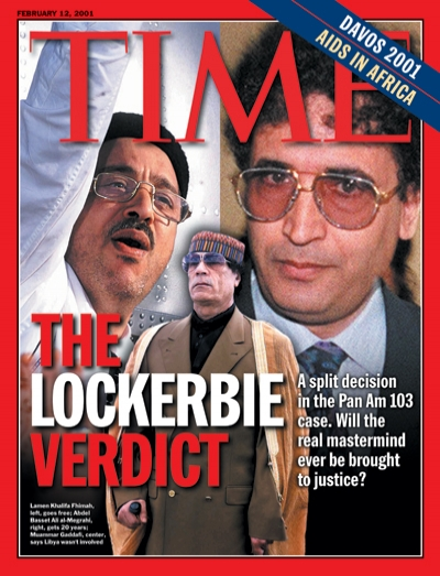 A photo montage depicting the main players in the Lockerbie bombing, including Gaddafi.