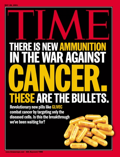 Yellow capsules of the medicine Gleevec, symbolizing ammunition to fight the war on cancer.