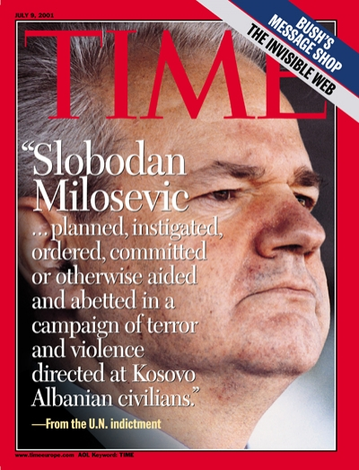 Former Yugoslav dictator Slobodan Milosevic is indicted by a war crimes court in the Hague