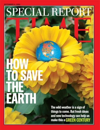 A photo illustration of a flower with a globe of the earth in the center.