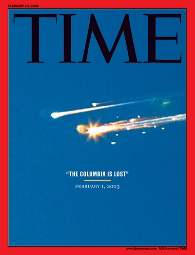 Photo of space shuttle Columbia disintegrating.