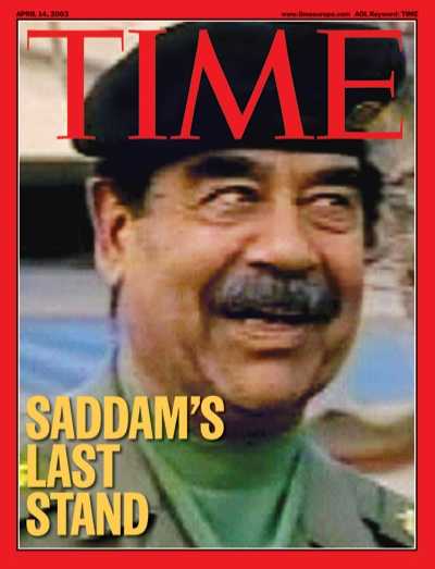 A still image from a video of Saddam Hussein