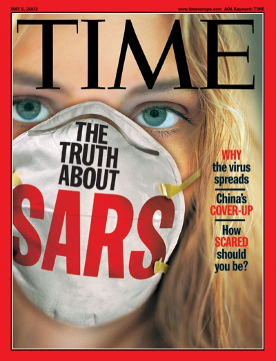 Photo illustration of a woman wearing a mask to protect against SARS.