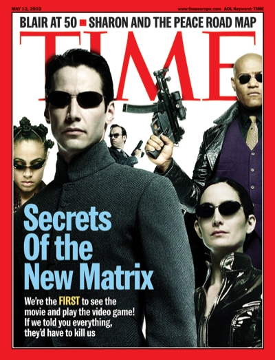 A picture with the cast of Matrix Reloaded, including Keanu Reeves, Jada Pinkett and Laurence Fishburne