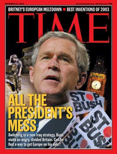 Switching over to a new Iraq strategy. Bush visits an angry divided Britain. Can he find a way to get Europe on his side?