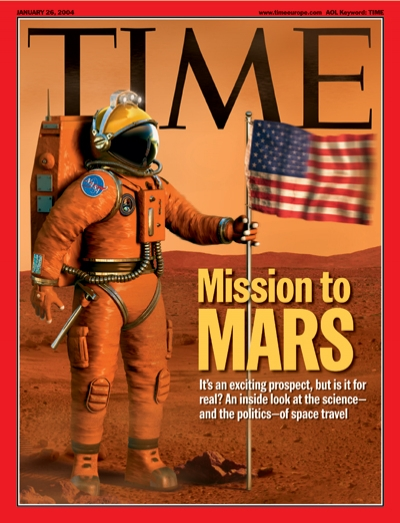 An artist rendering of American astronaut on a Mission to Mars