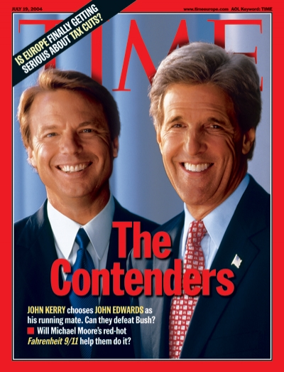 A photo of John Edwards and John Kerry
