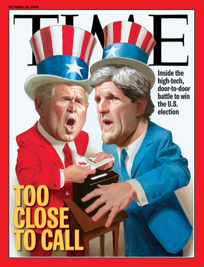 An illustration showing John Kerry and George W. Bush dressed as Uncle Sam hovering over a ballot box.