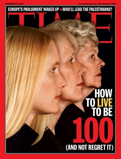 A picture showing age progression in three women.