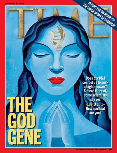 An illustration of a blue woman with a DNA symbol on her forehead praying.