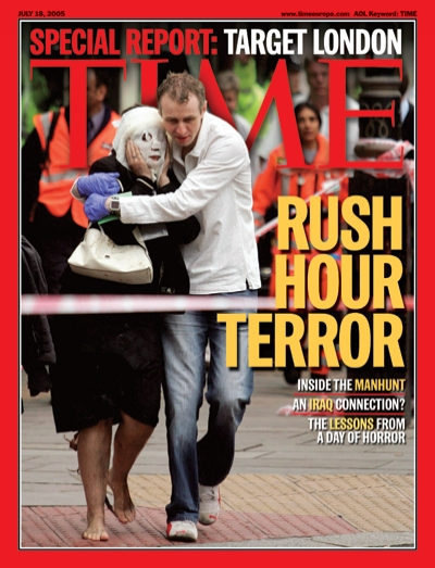 Picture of a man and woman at the site of the July 7, 2005 London terror bombings.