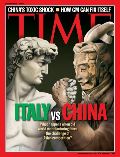 Illustration of an Italian statue and a Chinese statue arm wrestling
