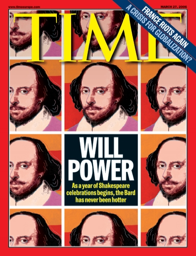 An illustration featuring a grid of images of William Shakespeare