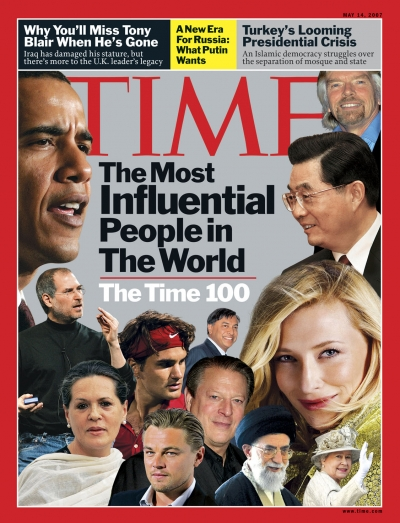 A collage of people on the TIME 100 list including Leonardo DiCaprio, Queen Elizabeth II, Barack Obama, Michael Bloomberg, Nancy Pelosi, Tyra Banks, and Steve Jobs