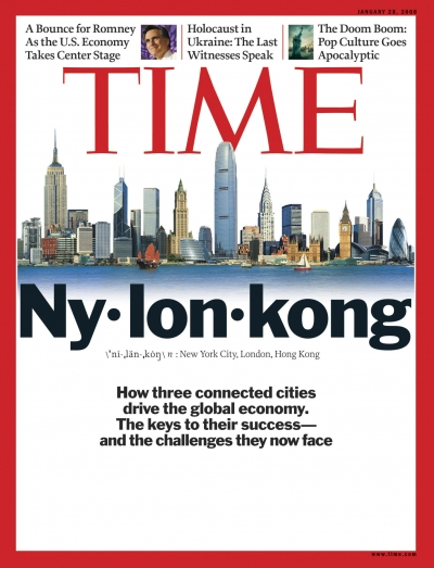 A composite image of New York City, London and Hong Kong